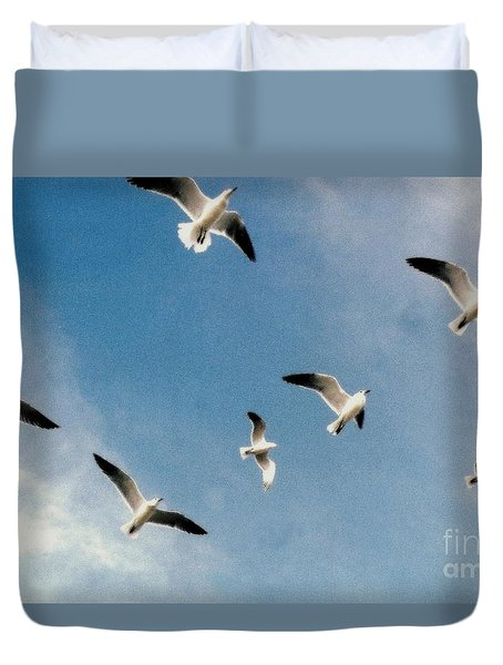 Duvet Cover featuring the photograph Johnathan Seagulls  by Michael Hoard