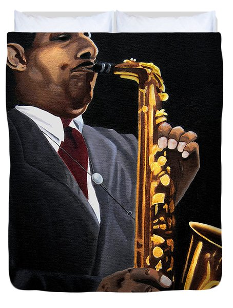 Johnny And The Sax Duvet Cover by Barbara McMahon
