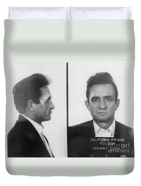 Johnny Cash Folsom Prison Duvet Cover by David Millenheft
