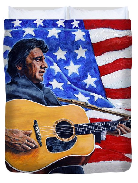 Johnny Cash Duvet Cover by John Lautermilch
