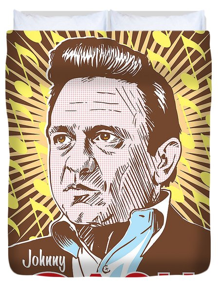 Johnny Cash Pop Art Duvet Cover by Jim Zahniser