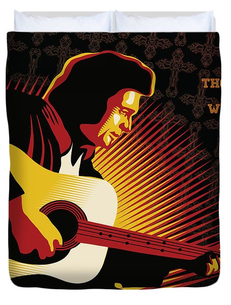 Johnny Cash Thorntree In A Whirlwind Duvet Cover by Sassan Filsoof