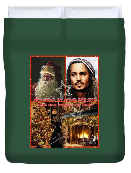 Johnny Depp Xmas Greeting Duvet Cover