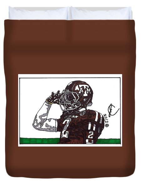 Johnny Manziel The Salute Duvet Cover by Jeremiah Colley
