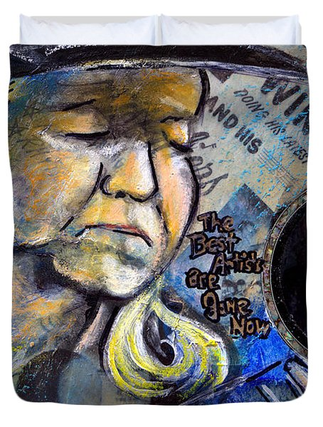 Johnny Winter Painted Guitar Duvet Cover