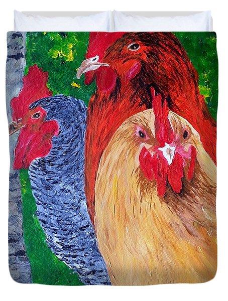 John's Chickens Duvet Cover