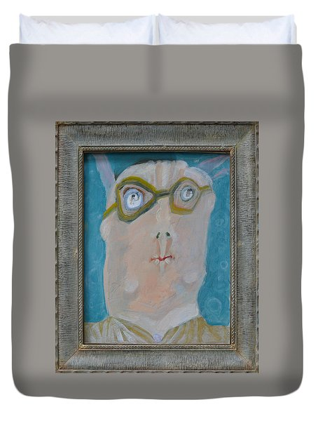 John's Dad Seeing Babies Born - Framed Duvet Cover by Nancy Mauerman