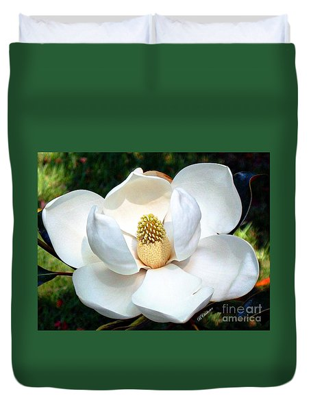 Duvet Cover featuring the photograph John's Magnolia by Barbara Chichester