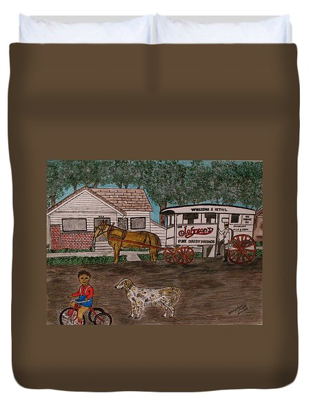 Duvet Cover featuring the painting Johnsons Milk Wagon Pulled By A Horse  by Kathy Marrs Chandler