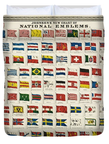 Johnsons New Chart Of National Emblems Duvet Cover by Georgia Fowler