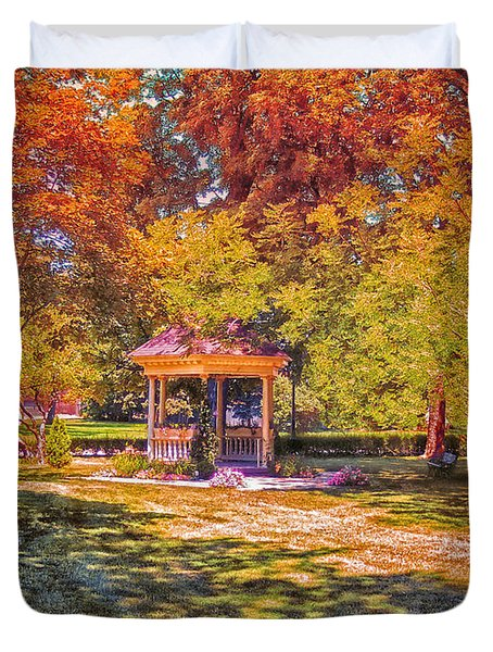 Join Me In The Gazebo On This Beautiful Autumn Day Duvet Cover by Thomas Woolworth