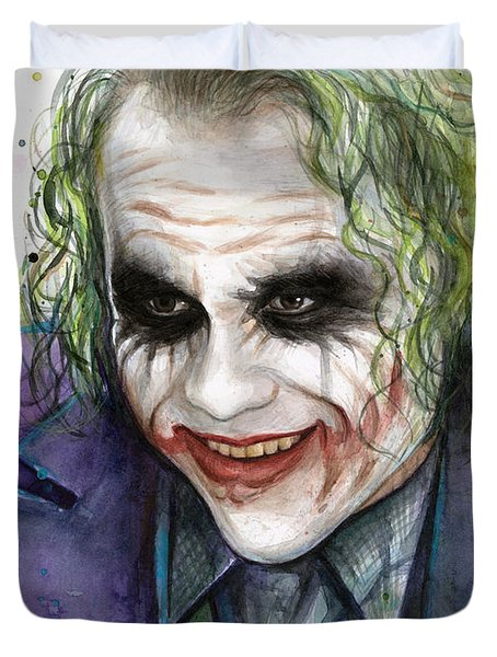 Joker Watercolor Portrait Duvet Cover by Olga Shvartsur
