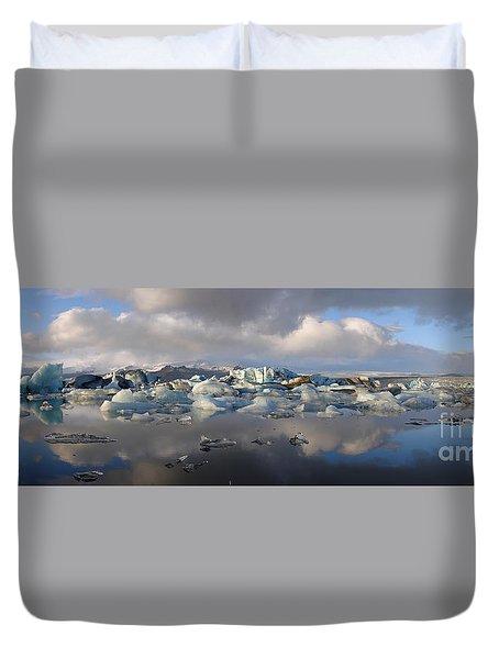 Jokulsarlon Glacier Lagoon Panorama Duvet Cover