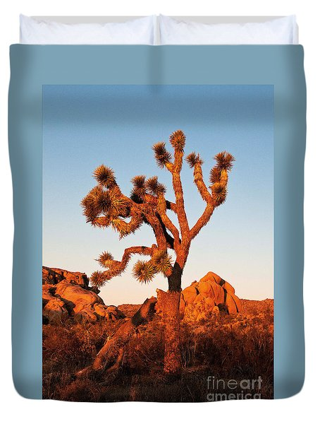 Duvet Cover featuring the photograph Joshua Tree At Sunset by Mae Wertz