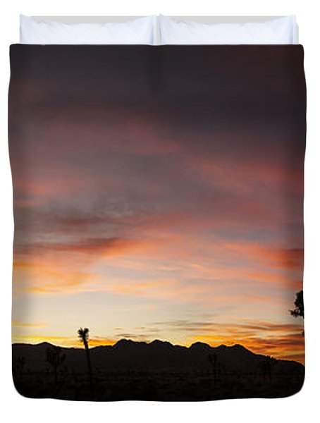 Joshua Tree Sunset Panorama Duvet Cover