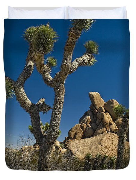 California Joshua Trees In Joshua Tree National Park By The Mojave Desert Duvet Cover by Randall Nyhof