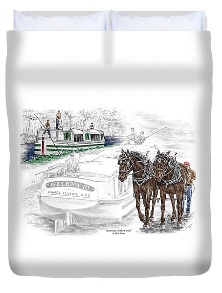 Journeys On The Canal - Canal Boat Print Color Tinted Duvet Cover