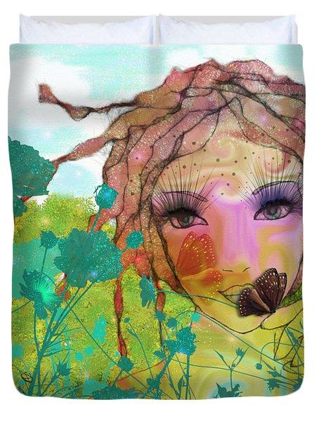 Duvet Cover featuring the digital art Joy by Barbara Orenya