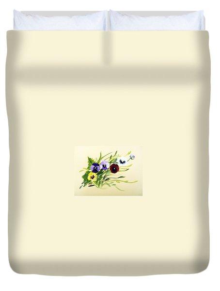 Joy Of Pansies Field Duvet Cover