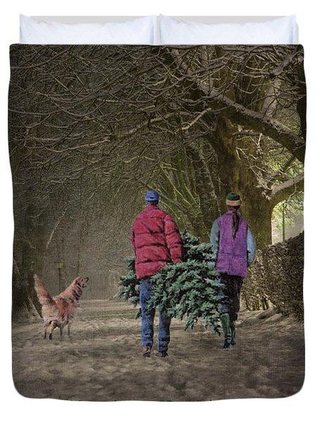 Joyeux Noel - Merry Christmas Duvet Cover by Lianne Schneider