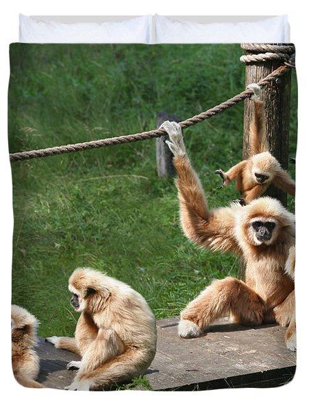 Joyful Monkey Family Duvet Cover