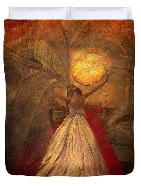 Duvet Cover featuring the digital art Joyous Bride by Kylie Sabra