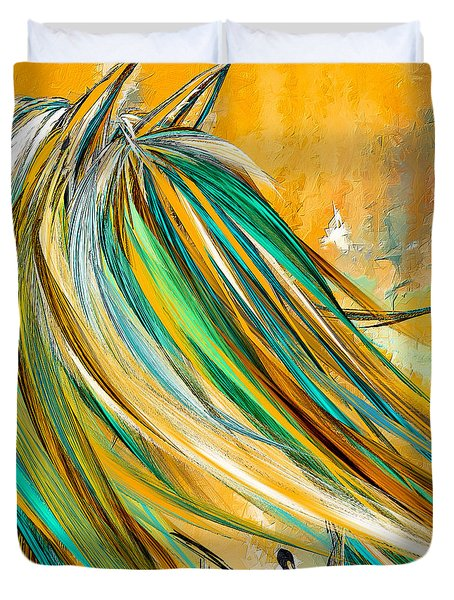 Joyous Soul- Yellow And Turquoise Artwork Duvet Cover