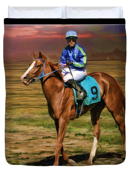 Juan Hermandez On Horse Atticus Ghost Duvet Cover