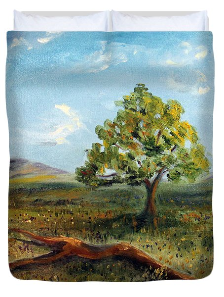 Duvet Cover featuring the painting Jubilant Fields by Meaghan Troup