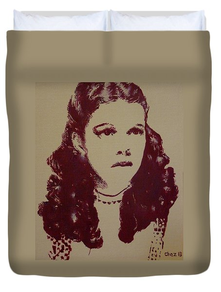 Duvet Cover featuring the painting Judy Garland by Cherise Foster