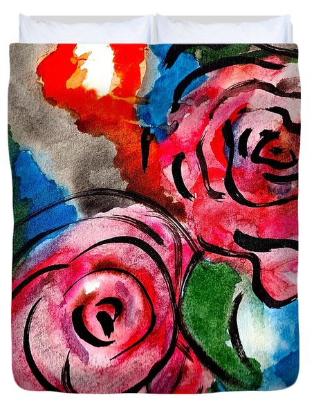 Duvet Cover featuring the painting Juicy Red Roses by Joan Reese