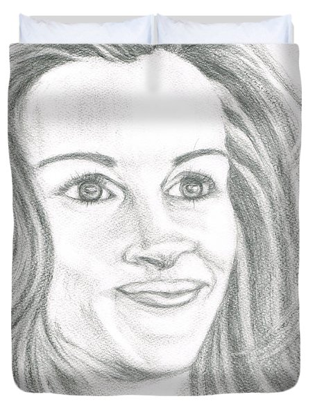 Duvet Cover featuring the drawing Julia Roberts by Teresa White