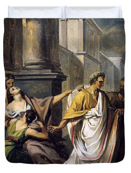 Julius Caesar 100-44 Bc On His Way To The Senate On The Ides Of March Oil On Canvas Study Duvet Cover