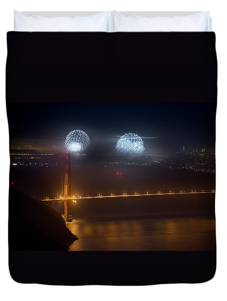 July Fourth Over The Bay Duvet Cover by Daniel Furon