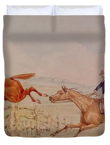 Jumping A Fence Duvet Cover by Henry Thomas Alken