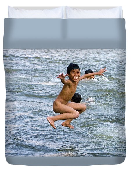 Duvet Cover featuring the photograph Jumping In The River by J L Woody Wooden