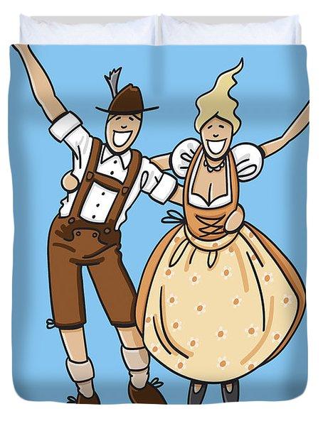Jumping Oktoberfest Lovers Duvet Cover by Frank Ramspott