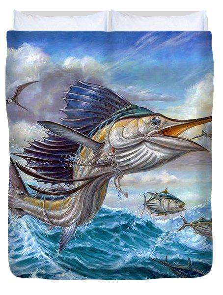 Jumping Sailfish And Small Fish Duvet Cover