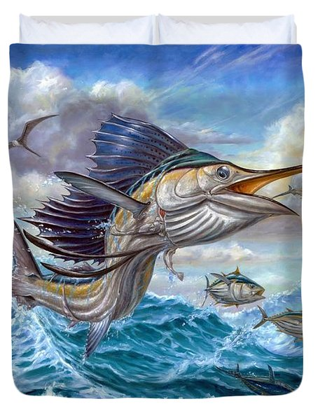 Jumping Sailfish And Small Fish Duvet Cover