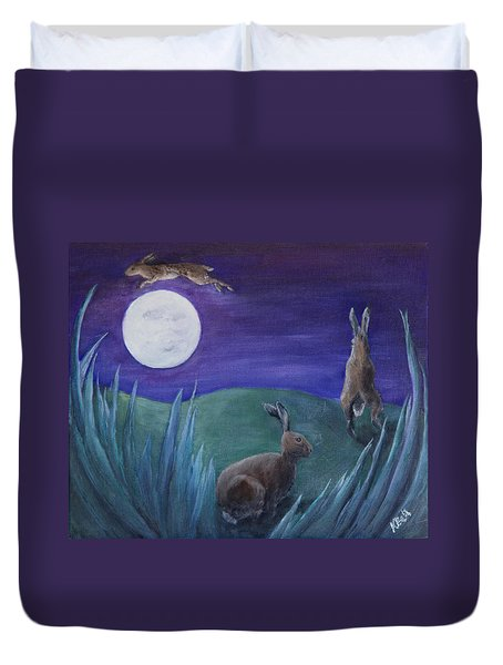 Jumping The Moon Duvet Cover