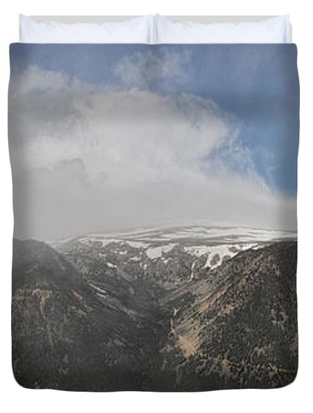 June Snow Squall Coming Down The Valley Duvet Cover