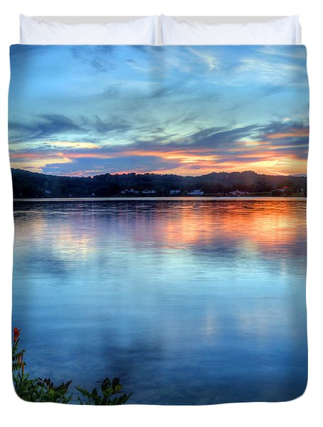 Duvet Cover featuring the photograph June Sunset by Jaki Miller