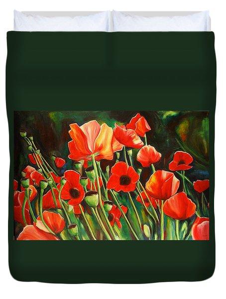 June Wearing Red Duvet Cover by Sheila Diemert