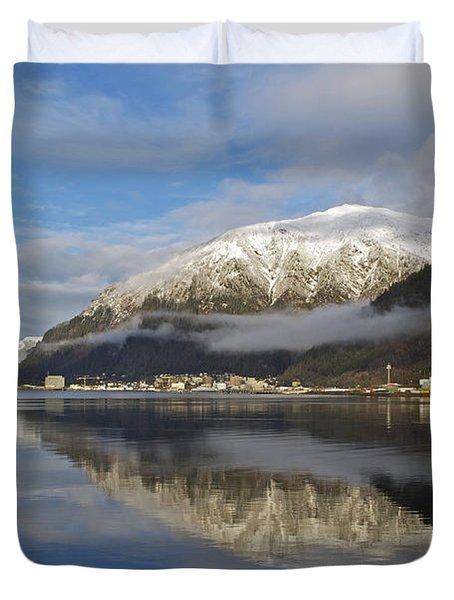 Juneau In Winter Duvet Cover by Cathy Mahnke