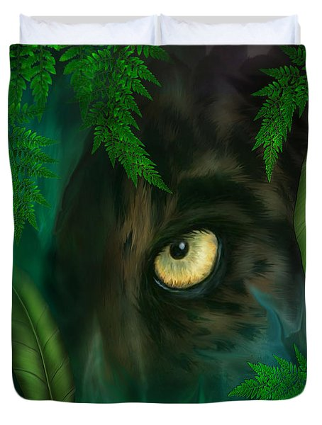 Jungle Eyes - Panther Duvet Cover by Carol Cavalaris