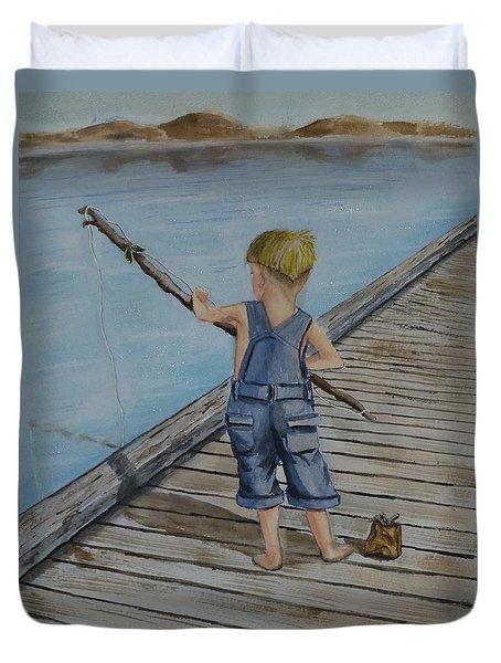 Juniors Amazing Fishing Pole Duvet Cover