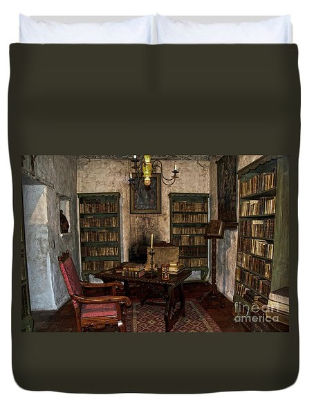 Junipero Serra Library In Carmel Mission Duvet Cover