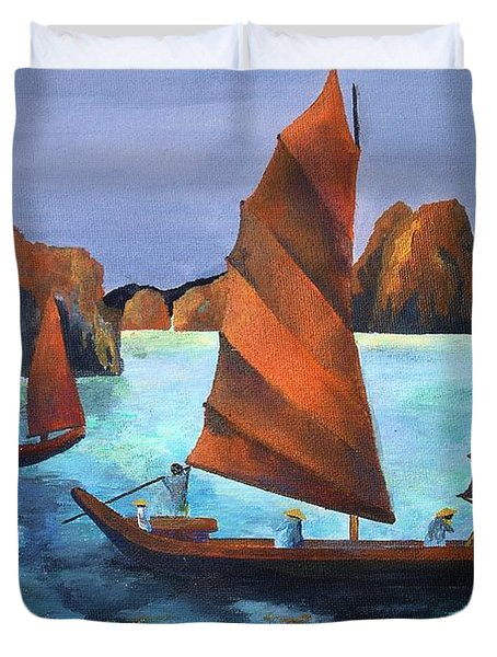Duvet Cover featuring the painting Junks In The Descending Dragon Bay by Tracey Harrington-Simpson
