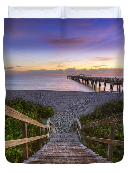 Juno Beach   Duvet Cover by Debra and Dave Vanderlaan