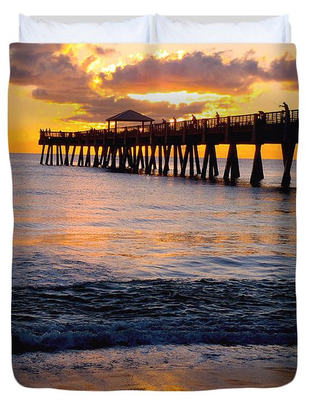 Juno Beach Pier Duvet Cover by Carey Chen